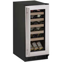 1000 Series 24-Bottle Wine Cooler - Black Cabinet with Stainless Steel Door