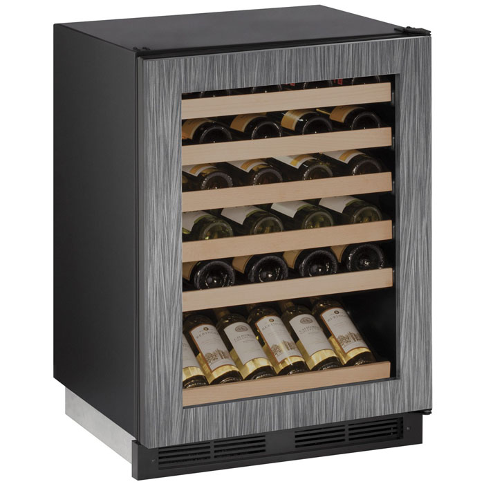 48bottle builtin wine black cabinet with integrated frame glass door