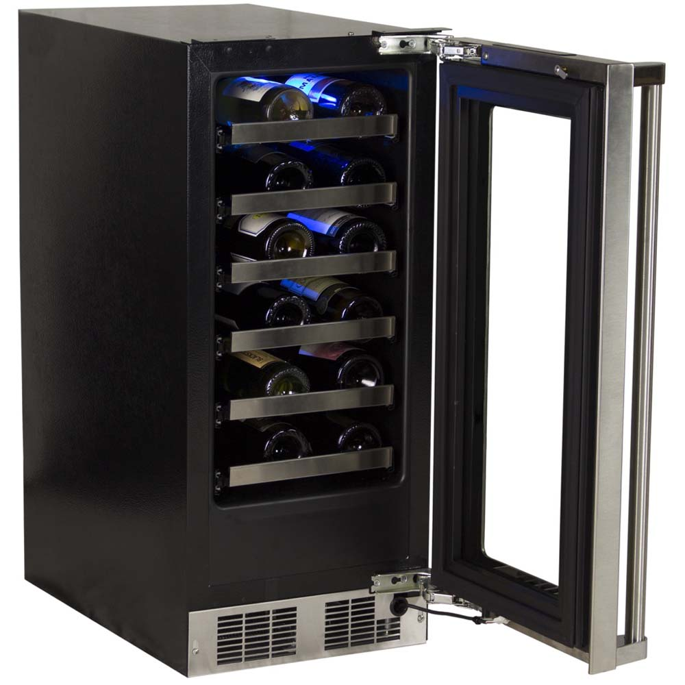 Cabinet With Wine Cooler Marvel 24 Bottle Wine Cooler Black Cabinet And Stainless Steel