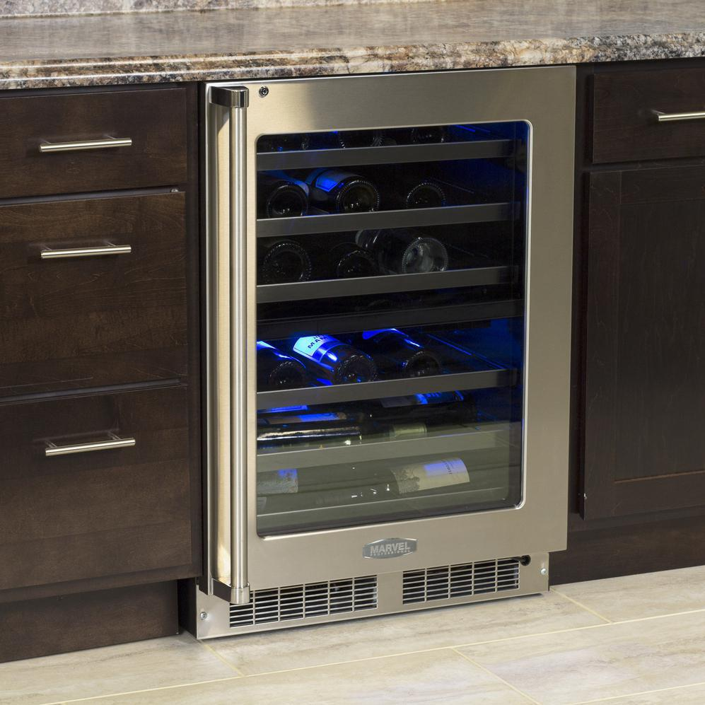 Cabinet With Wine Cooler Marvel Dual Zone 40 Bottle Wine Cooler Black Cabinet And
