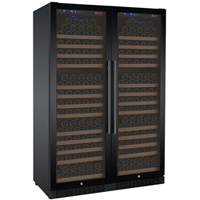 FlexCount Series 354 Bottle Dual Zone Wine Coolers - Side by Side - Black Doors