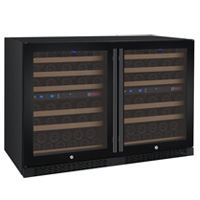 FlexCount Series 112 Bottle Multi-Zone Wine Refrigerators - Side by Side - Black Doors