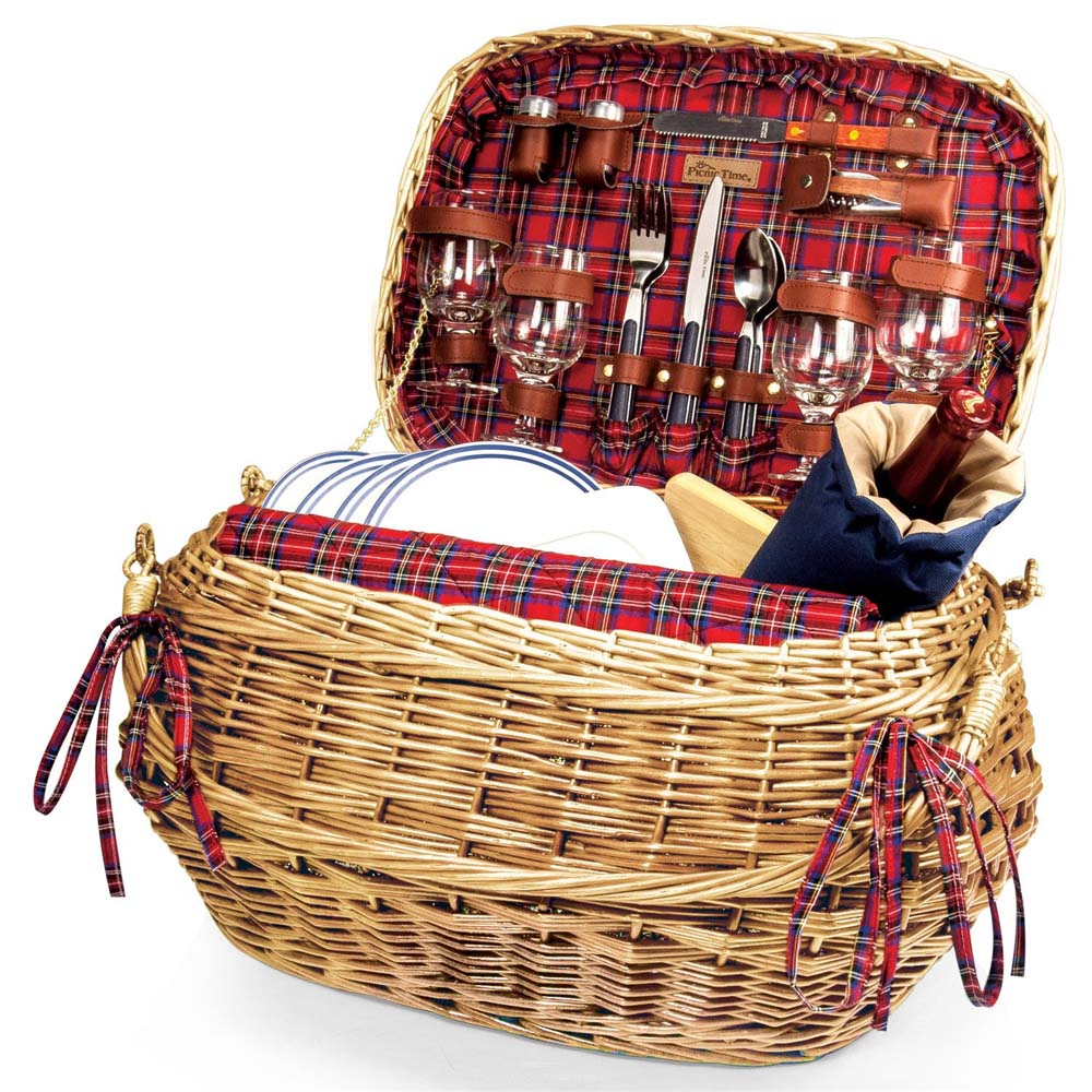Highlander Basket  sc 1 st  BeverageFactory.com & Highlander 302-55-401 Rattan u0026 Bamboo Picnic Basket for Four ...