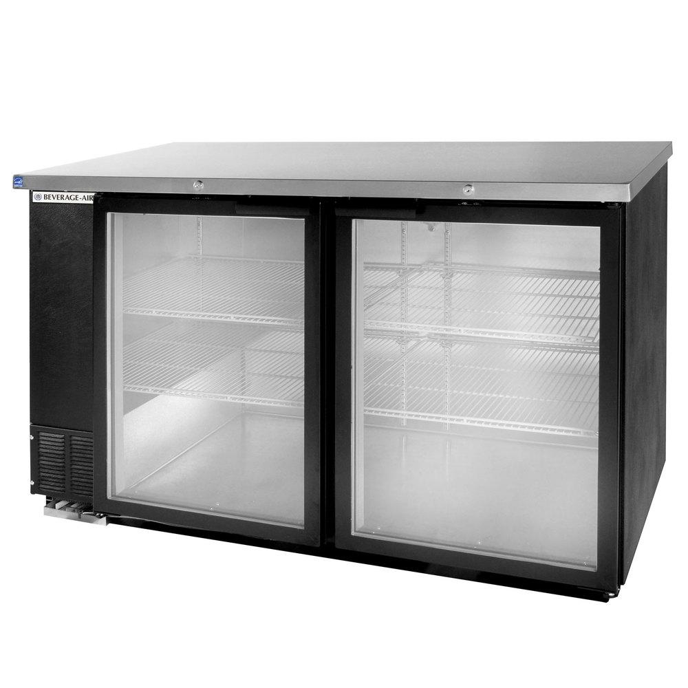 Back Bar Refrigerator W/Glass Doors   Black