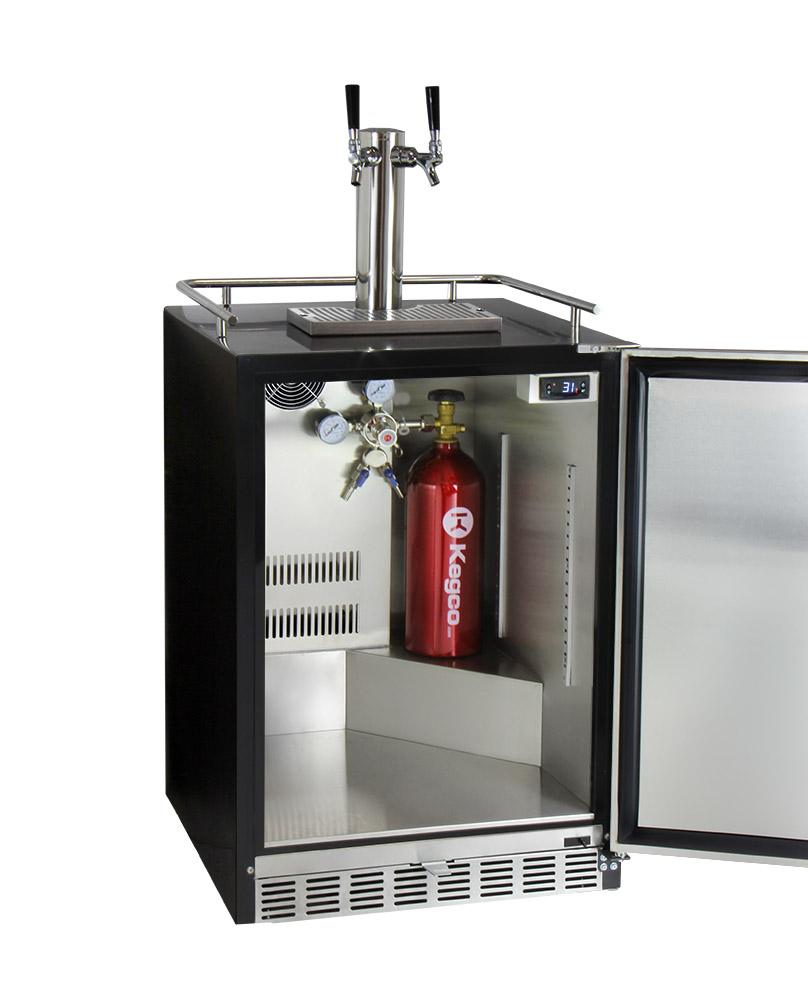 Kegco HK38BSU-L-2 Two Tap Digital Under-Counter Keg Beer Dispenser ...