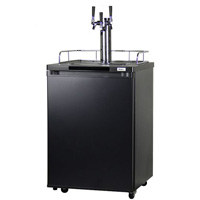 Triple Faucet Draft Beer Dispenser - Black Cabinet with Matte Black Door