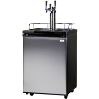 Three Faucet Kegerator - Black Cabinet with Stainless Steel Door