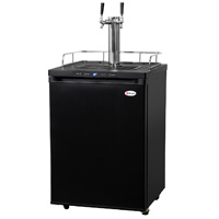 Dual Faucet Digital Kegerator - Black Matte Cabinet and Door
