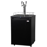 Kegco K309B-3 Three Faucet Digital Kegerator - Black Matte Cabinet and Door