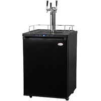 Three Faucet Digital Kegerator - Black Matte Cabinet and Door