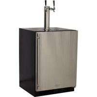 Kegerator Cabinet with X-CLUSIVE 2 Faucet D System Keg Tapping Kit - Black/Stainless Steel