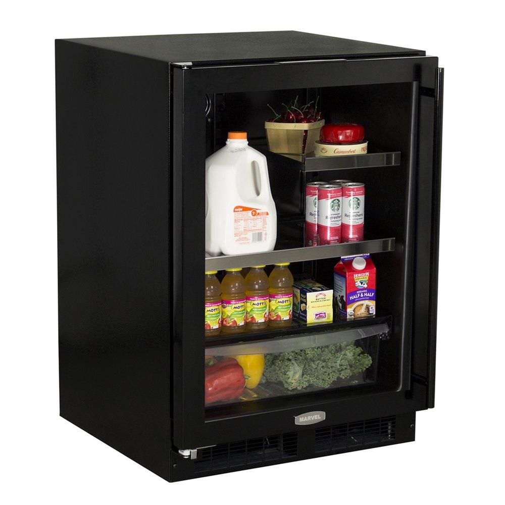 Under Counter Beverage Centers 24 Beverage Center Black Framed Glass Door Right Hand Hinge