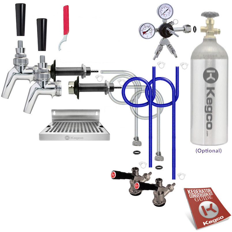 Kegco Premium Two Faucet Door Mount Kegerator Keg Tap Conversion Kit ...