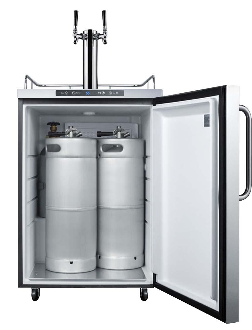 Summit Sbc635mos7twin Freestanding Outdoor Dual Tap Kegerator Stainless Steel Cabinet Door