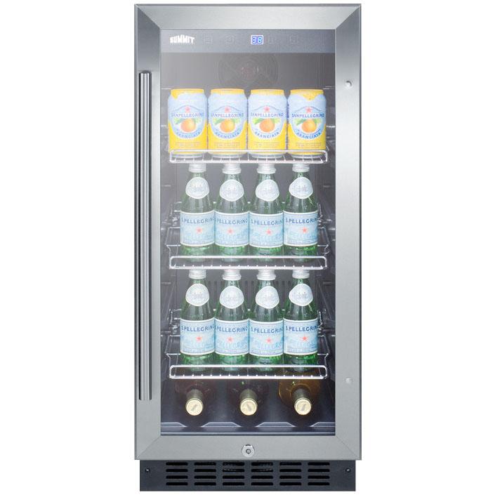 Summit SCR1536BG Beverage Refrigerator - Black/Stainless Steel ...
