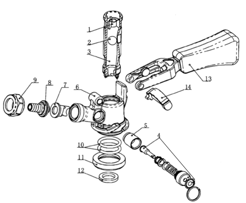 S_Diagram kegco kts98s w premium stainless steel s system keg tap coupler