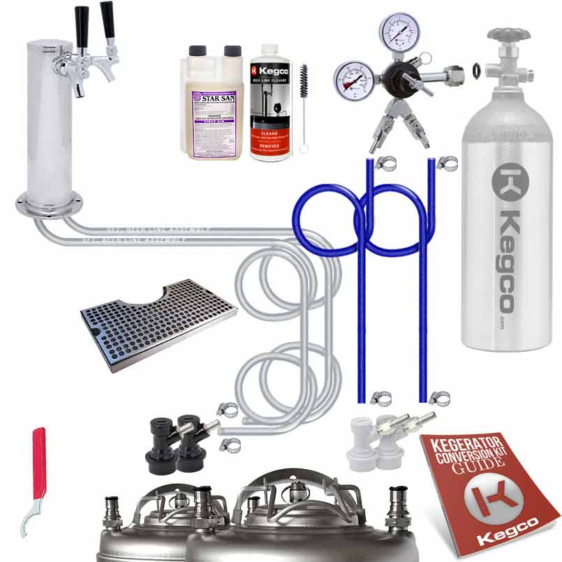 Kegco Ultimate Home Brew Two Faucet Tower Kegerator Conversion Kit ...