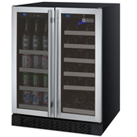 FlexCount 2 Door Wine Refrigerator/Beverage Center - Stainless Steel Doors