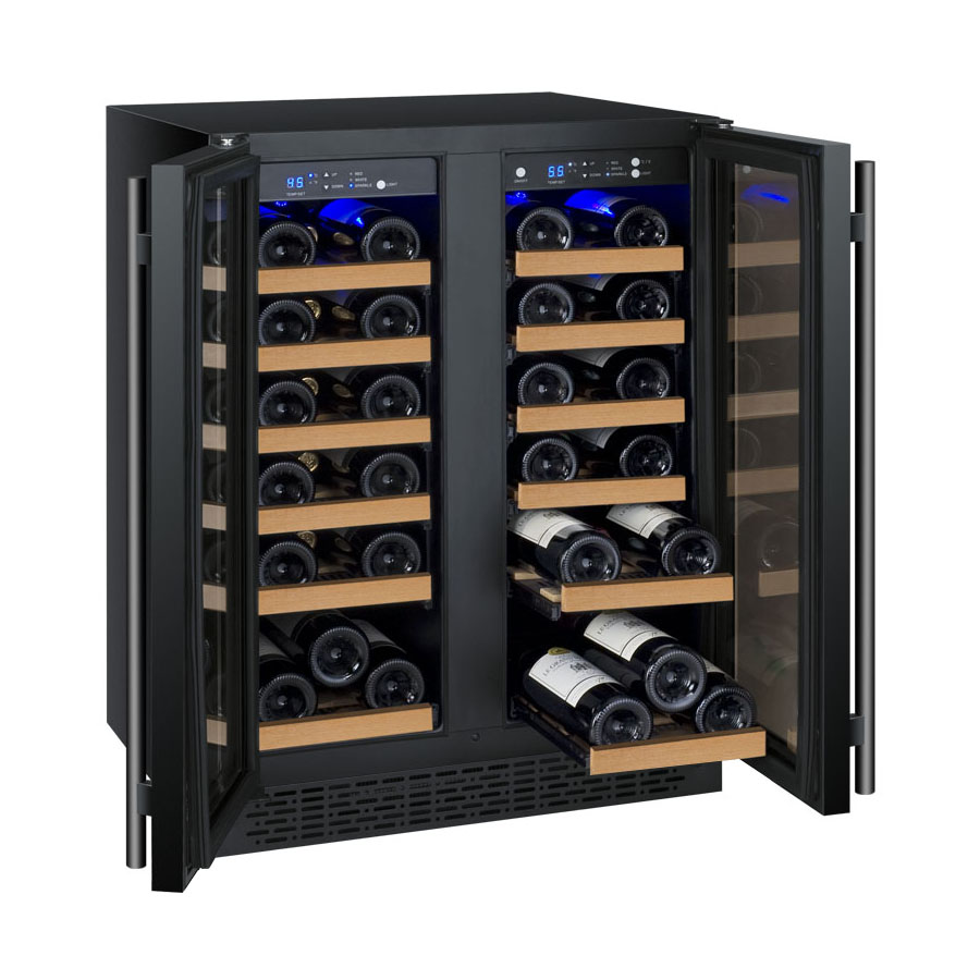allavino wine refrigerator two zone vswrbwfn flexcount series  - glideout wine rack shelves