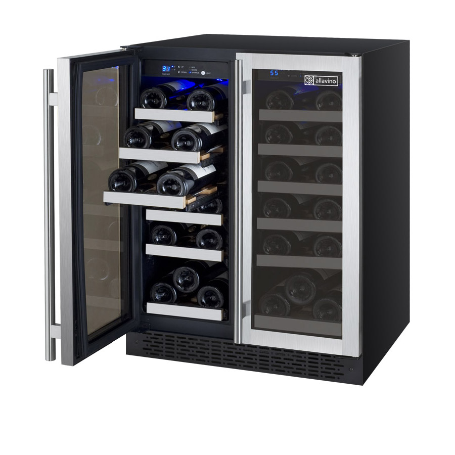 allavino vswrssfn flexcount series wine refrigerator bottle  - easyglide wine storage racks