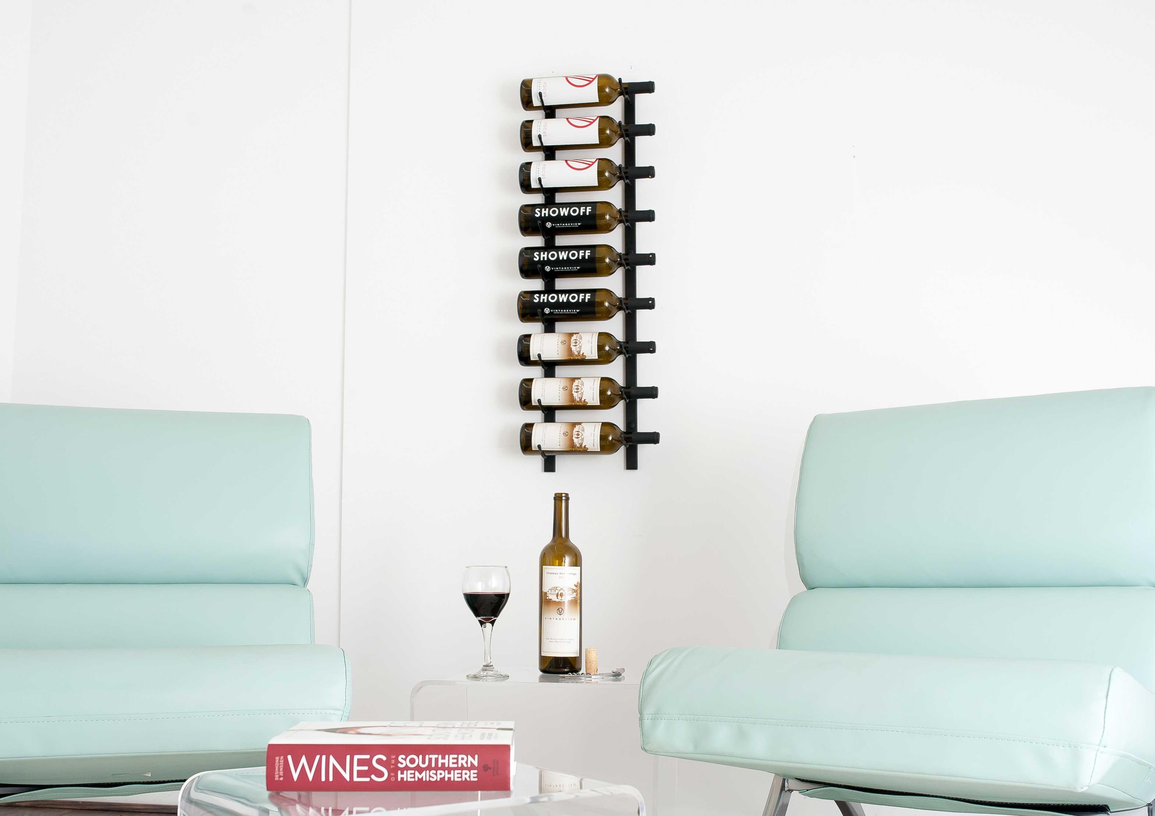 vintage view wsblack pearl   bottle vintage view wine rack  - ' wall mount  bottle wine rack  black chrome finish
