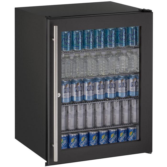5.3 Cu. Ft. ADA Undercounter Refrigerator W/ Lock   Black Cabinet With Black  Glass Door
