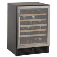 50-Bottle Wine Chiller - Black Cabinet and Stainless Steel Frame Glass Door