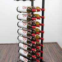 Free Standing 27 Bottle Point of Purchase Wine Display - Satin Black Finish