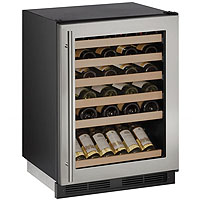 48-Bottle Built-in Wine Refrigerator - Black Cabinet with Stainless Steel Glass Door