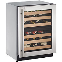 Dual Zone 43 Bottle Wine Refrigerator - Stainless Steel Glass Door with Lock - Right Hinge