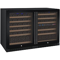 FlexCount Series 112 Bottle Three-Zone Wine Refrigerator - Side by Side - Black