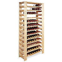 126-Bottle Swedish Pine Wine Rack in Natural Finish