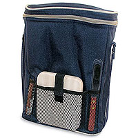 Dark Blue Triple Bottle Wine Duffel