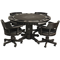 Bar & Shield Flames Poker Table & Chairs Set - Vintage Black