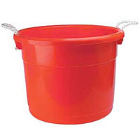 Brute 19 Gallon Red Keg Bucket with Rope Handles