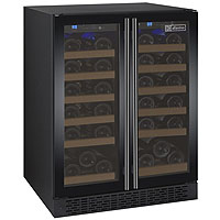 Inventory Reduction - FlexCount Series 36 Bottle Dual Zone Wine Refrigerator and 2 Black Doors