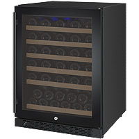 FlexCount Series 56 Bottle Single Zone Wine Refrigerator with Black Door & Right Hinge