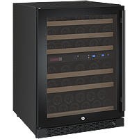 FlexCount Series 56 Bottle Dual-Zone Wine Cellar with Black Door &  Left Hinge