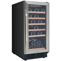 30-Bottle Wine Chiller - Black Cabinet and Stainless Steel Framed Glass Door