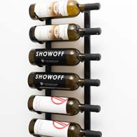 2' Wall Mount 6 Bottle Wine Rack - Satin Black Finish