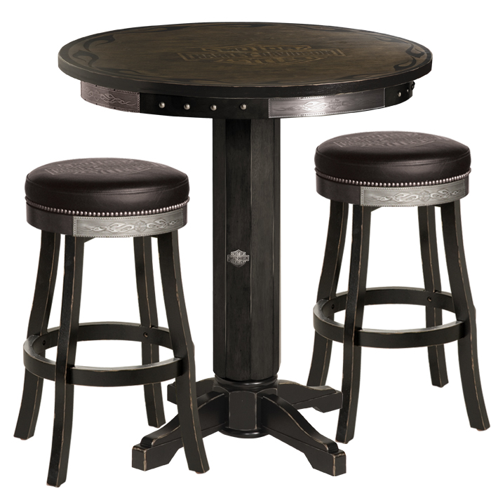 Bar Shield Flames Pub Table Bar Stool Set Vintage Black
