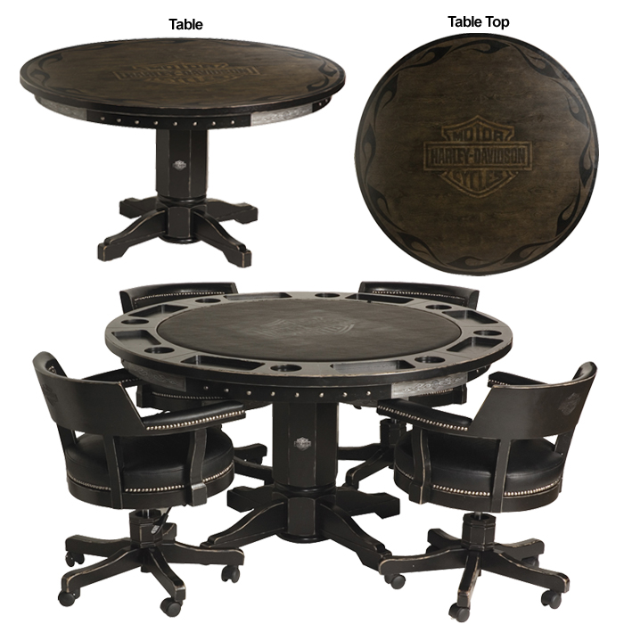 Bar U0026 Shield Flames Poker Table U0026 Chairs Set   Vintage Black