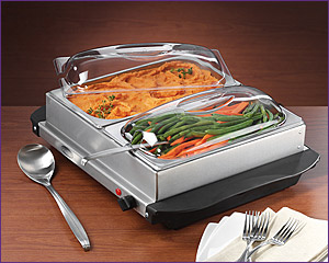 Photo of Nostalgia Electrics BCD-552 2-Section Stainless Steel Buffet & Warming Tray