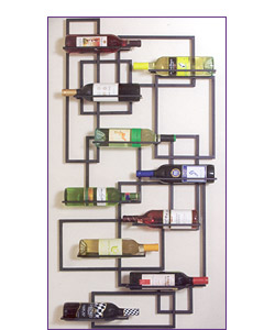 Geometric wall hanging wine-rack
