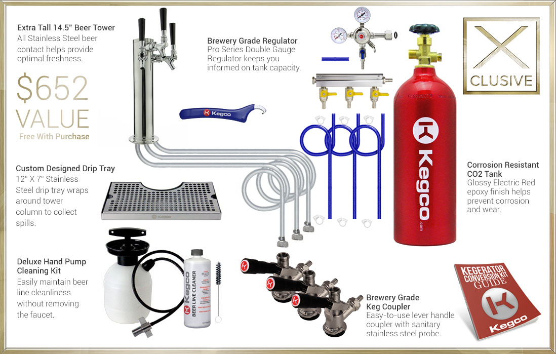 X-CLUSIVE Dispense System includes tower, drip tray, cleaning kit, regulator, keg couplers, and CO2 tank