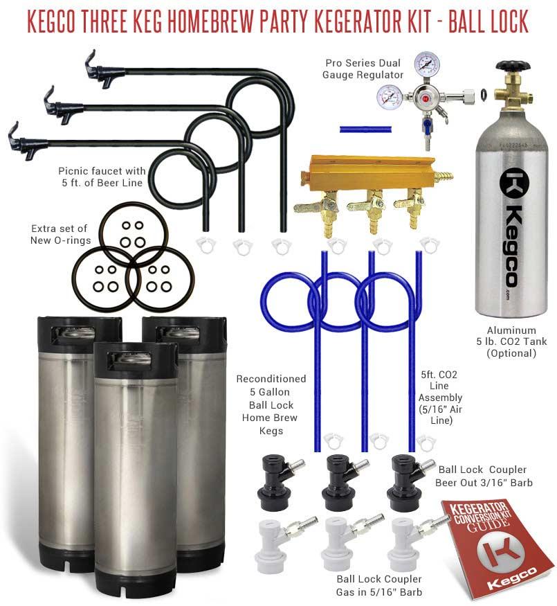 ball keg. homebrew draft system with three ball lock kegs keg