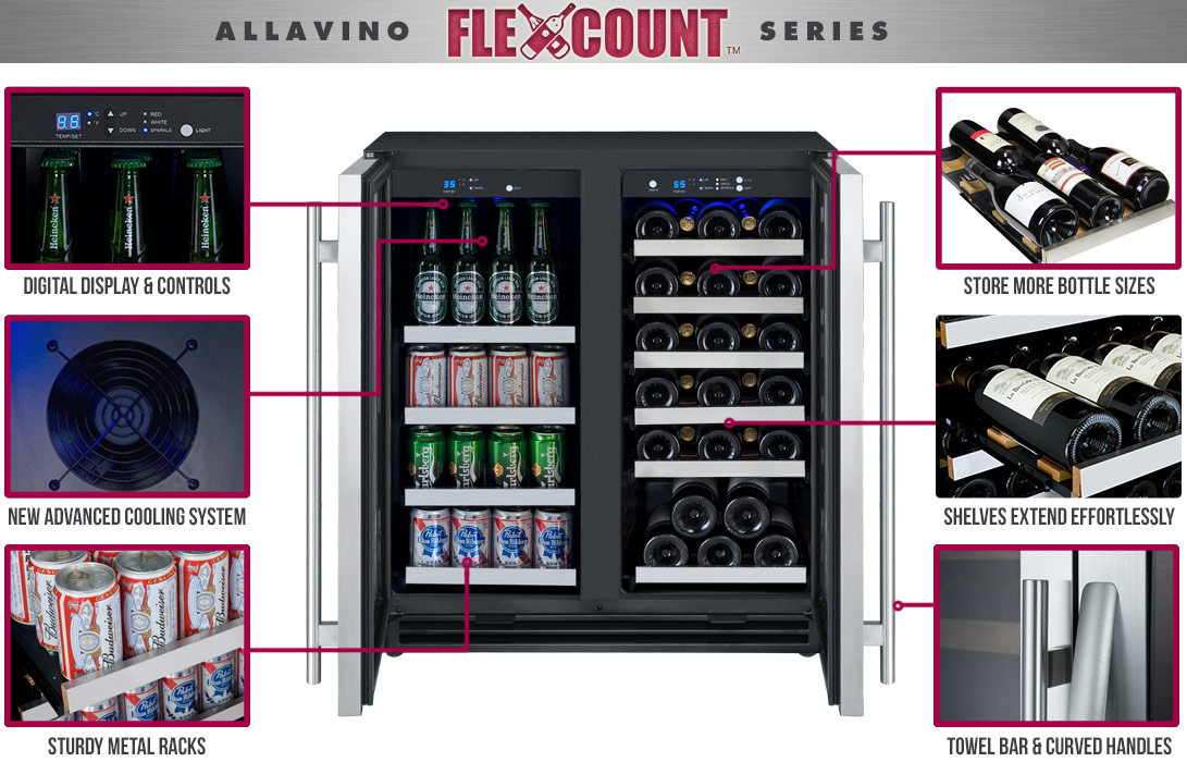 store beverage cans standard beer bottles and wine bottles with 6 shelves that hold up to 5 wine bottles each 3 shelves that hold up to 24 cans each