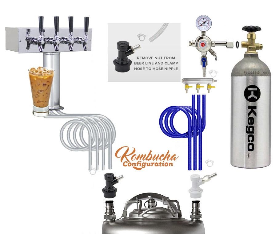 Kegco KOMC1S-4 Four Faucet Commercial Kombucharator Kombucha ...