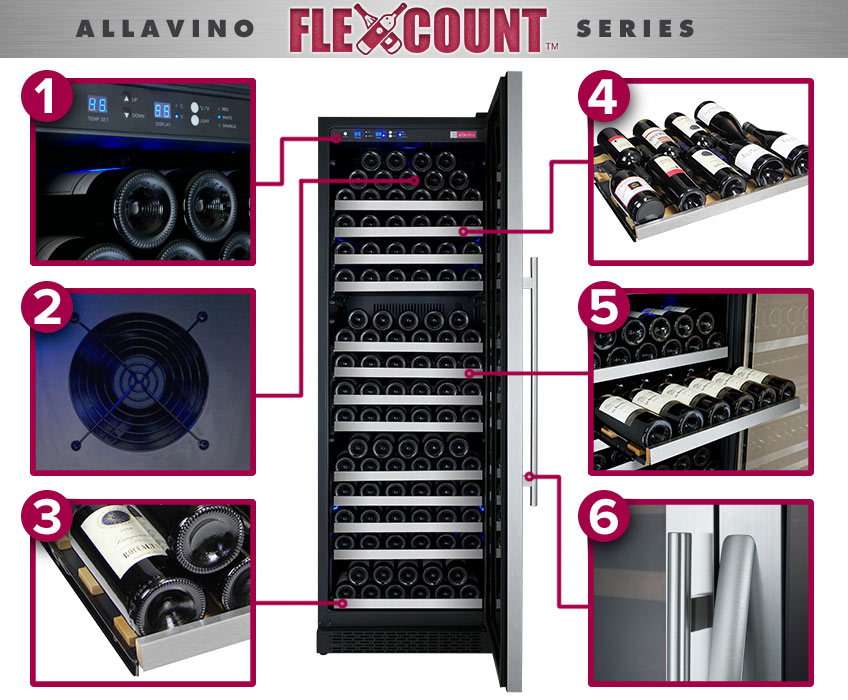 Allavino Flexcount Series Wine Refigerators - Holds Every type of bottle without having to take out shelves