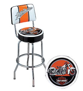 Photo of Harley-Davidson Swoosh & Motorcycle Bar Stool with Backrest